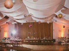 Gold, shimmer canapoy wedding reception   //  jackiewondersblog.com