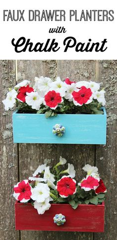 Faux Drawer Planters with Chalk Paint