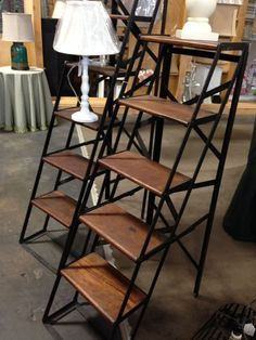 Another versatile piece in the shop. These unique metal and wood shelves could be used in just about any room and compliment any style! I'd use them for beautiful linen storage in my bathroom or for books and accessories in my living room. Maybe even add a couple of cute baskets to store blankets :)   Ladder, industrial, home decor