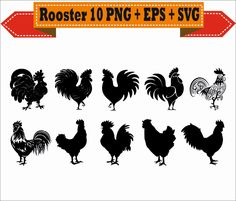 Rooster Year 2017 Cock Farm Animal Chicken Silhouette Vector Clipart PNG EPS Set Digital Files Scrapbook Supplies Clip Art Instant Download by VectorArtShop on Etsy
