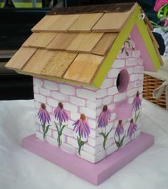 Cone Flowers Painted Bird House