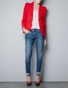 Zara puffed shoulder jacket. An absolute wardrobe fave of mine! Great day outfit - Chic! M