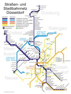 La red de transporte público de la ciudad de Düsseldorf, conocido como Düsseldorf Stadtbahn está compuesta por tren, metro, tranvía y autobús. La empresa encargada de los mismos es Rheinbahn, integrada dentro de la asociación de Transporte Rhein-Ruhr (VRR). Dusseldorf Germany, Munich, Rhein Ruhr, Bay Area Rapid Transit, Notes From Underground, S Bahn, Transport En Commun, North Rhine Westphalia, Bus Route