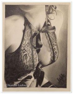 """tableau boudoir """"dentelle"""" au crayon graphite : Dessins par aurelie-ledoux"""