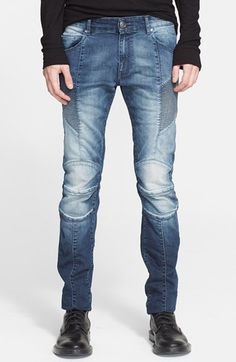 Pierre Balmain Moto Jeans (Medium Indigo) available at #Nordstrom