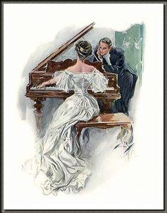 Illustration by Harrison Fisher Vintage Images, Vintage Art, Musica Love, San Francisco Art, Vintage Couples, Romantic Couples, Vintage Romance, Art And Illustration, Up Girl