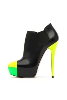 fall 2012, Casadei, shoes, high heels, boots + booties, green, yellow, black