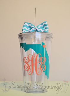 Monogrammed State acrylic tumbler. 16 ounce by SimplyStunningSite