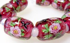 Pink Paeony Flower & Butterfly Satake Glass Lampwork beads set sra by AyakoGlassGarden on Etsy https://www.etsy.com/listing/262224938/pink-paeony-flower-butterfly-satake