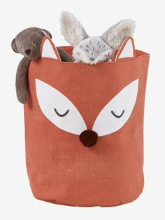 Here's a fantastic idea to keep toys tidy! An adorable basket featuring a fox that will be more than ready to collect toys, comforters, dolls. Kids Storage Baskets, Coat Hooks On Wall, Cot Blankets, Wellies Boots, Messy Room, Fox Toys, Baby Room Decor, Nursery Themes, Doll Accessories