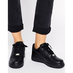 Nike Air Force 1 '07 Black Trainers (€89) ❤ liked on Polyvore featuring shoes, sneakers, black, black sneakers, nike sneakers, lacing sneakers, leather lace up sneakers and black lace up sneakers