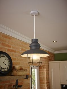 A modern take on a fisherman's light shade. Great for a kitchen or dining area.