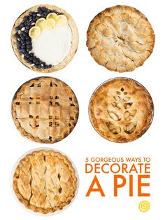 5 Pin-Worthy Pie Crust Decorating Tips and Ideas.  These beautiful decoration ideas are easy and GORGEOUS, making them perfect for the holiday season - like Thanksgiving or Christmas - or just summer berry pies or fall apple pies. Use cookie cutters, braid, crimp, lattice, cut out, scalloped, and more.