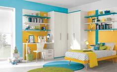 Modern Shocking Blue Yellow White Bedroom Decor Interior Design pertaining to measurements 1234 X 761 White Blue And Yellow Bedroom - Small bedrooms Modern Kids Bedroom, Kids Bedroom Designs, Kids Room Design, Bedroom Ideas, Teen Bedroom, Modern Playroom, Bedroom Images, Room Kids, Modern Desk