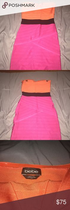 Bebe strapless bandage bodycon dress! Strapless Bebe bandage bodycon dress! Great for Birthdays or any special occasions. *Worn only Once* Excellent condition! bebe Dresses Mini