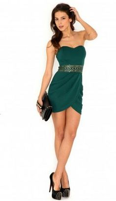Our Fashionable Friday Fave: Nerissa Sequin Waistband Bandeau Dress In Deep Green at 40% off!