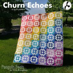 Sew a rainbow.Churn Echoes originally appeared in The Quilter's Planner Magazine in This pattern is updated to include additional instructions for a smaller block. A new cutting dimension as well as assembly technique will save a little fabric and. Quilting Designs, Quilt Design, Picnic Blanket, Outdoor Blanket, Churn Dash Quilt, S Planner, Sewing Circles, Quilt As You Go, Quilt Stitching