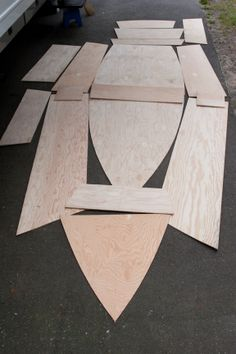 A 12 foot wooden rowboat. The beginning. All the pieces. This is a stitch and glue boat. The following are only representative photos and do not included all of the steps. to build the boat.