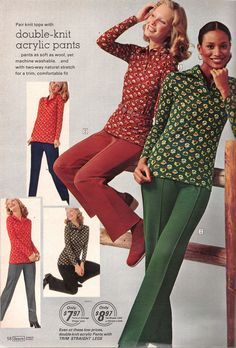 Retrospace: Catalogs #37: Sears 1974 Women's Fashion I remember having a kid's version of these outfits. I HATED them