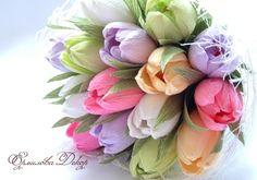 Тюльпаны из гафрированной бумаги
