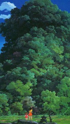 Studio Ghibli Tree Green Art Illustration Love Anime iPhone 6 wallpaper