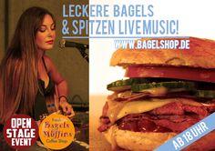 Leckere #Bagels & Spitzen #LiveMusic :-) Heute ist im #bagelshop wieder #OpenStage !!!  Komm vorbei, wir freuen uns :-D  www.bagelshop.de