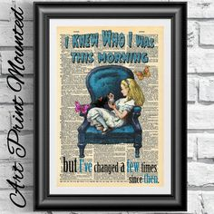 MOUNTED dictionary book page print Alice in by IntheFrameShop
