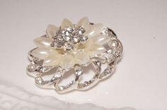 Beautiful Pearl Rhinestone Sparkling  Brooch Pin  by rosecarmen, $6.95