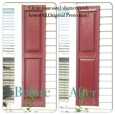 Clean your vinyl shutters with ArmorAll! I do this twice a year (spring and fall) for instant added curb appeal!