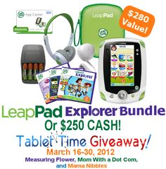 """""""Tablet Time {LeapPad Bundle OR $250 Cash Edition} Giveaway"""". This Giveaway runs from March 16 and ends March 30 at 11:59 PM EST. http://www.shopaholicmommy.com/sweepstakes/tablet-time-giveaway/"""