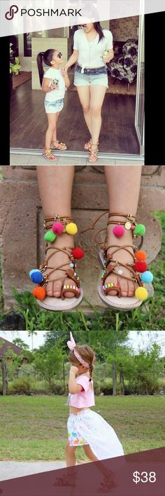 Colorful Pum pum sandals Mommy and me sandals.                               Kids size $38 adult size $45.                       Arriving on Friday/29 Let me know your size Shoes Sandals