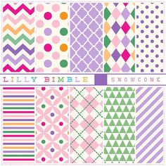 80% off Digital scrapbook papers in pink purple by LillyBimble