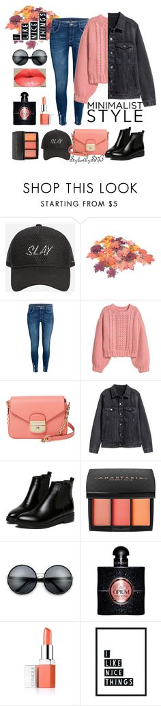"""""""Simplicity 2.0"""" by styledbysnb ❤ liked on Polyvore featuring Ashley Stewart, H&M, Longchamp, WithChic, Anastasia Beverly Hills, Yves Saint Laurent and Clinique"""