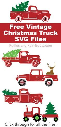 Free Christmas Truck SVGs If you're making something with your cutting machine this Christmas, check out these vintage Christmas red truck files – ALL FREE! Click through to see all the options (love them all). Christmas Red Truck, Christmas Svg, Christmas Projects, Vintage Christmas, Holiday Crafts, Xmas, Christmas Stencils, Christmas Christmas, Holiday Ideas