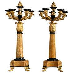 Pair of Five Light Candelabras in Gilt and Patinated Bronze