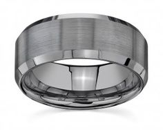 GUN METAL tungsten-wedding-bands-rings-8mm-brushed-beveled-edge -- This is the type of band I want for Joe.