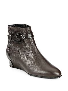 Tod's Pebbled Leather Wedge Ankle Boots  #boots