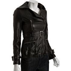 Dallin Chase Black Leather 'Bach' Belted Moto Jacket