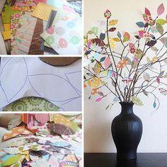Divertida manera de reutilizar y redecorar, y aprovechar las ramas secas de los árboles y retazos de tela/papel