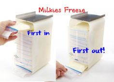 This is a great idea to keep milk in one spot and used in the right order. You can also save yourself some money and use a gift bag instead, just cut a small slit in the bottom.