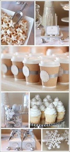 Wintery dessert inspirations. Monochrome white and craft paper make a striking visual impact.