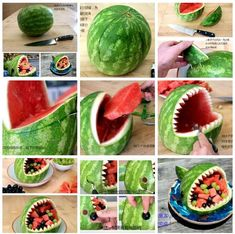 DIY watermelon Source by soonhuamaifeng Snacks Für Party, Luau Party, Beach Party, Ben E Holly, Shark Party, Boy Birthday Parties, 2nd Birthday, Birthday Ideas, Mermaid Birthday