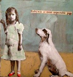 Ruby was a most Respectable Pup original mixed media painting by MaudstarrArt aka Canadian artist Heather Murray