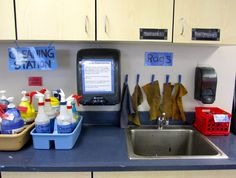 This is one of the most important parts of my classroom. Organized cleaning supplies help guarantee a chaos free clean-up time. I just cant explain it, ...