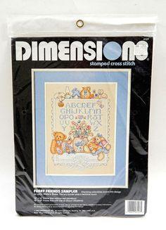 Dimensions Furry Friends Alphabet Sampler Kids Baby Teddy Bear Cross Stitch Kit #Dimensions #AlphabetSampler #CrossStitch