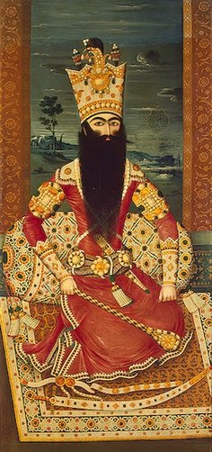 """Like virtually every dynasty that ruled Persia since the 11th C., the Qajars came to power with the backing of Turkic tribal forces, while using educated Persians in their bureaucracy"""" Fat'h Ali Shah, portrait 1818, Persian Ruler, Qajar Dynasty, fought the Russians unsuccessfully to prevent their expansion into the Iranian controlled Caucasus and Georgia. Hermitage"""