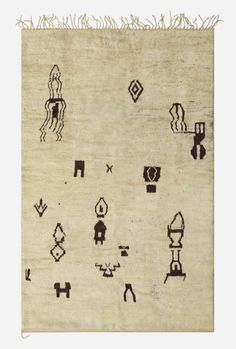 Contemporary double-sided pile carpet by unknown artist  Lot 104 of the Living Contemporary Auction: 14 July 2016  Hand-knotter wool. Morocco, c. 2000.  67 w x 102 l inches.  via Wright 20