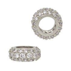 11X4.5mm Sterling Silver and Pave CZ Three Row Cubic Zirconia Roundel with Large Hole