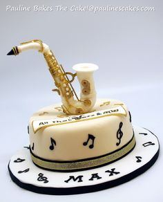 Commissioned for a cool guy who loves jazz music and plays the saxophone, this jazz themed cake features a white sugar art saxophone with g. Music Themed Cakes, Music Cakes, Cakes For Men, Cakes And More, Marzipan, Beautiful Cakes, Amazing Cakes, Bolo Musical, Different Cakes