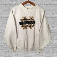 Vintage Notre Dame Fighting Irish Crewneck by YoCrewneck on Etsy Cute Comfy Outfits, Casual Outfits, Sweater Hoodie, Crew Neck Sweatshirt, Cute Sweatshirts, College Sweatshirts, Tailgate Outfit, Athletic Outfits, Vintage Sweaters
